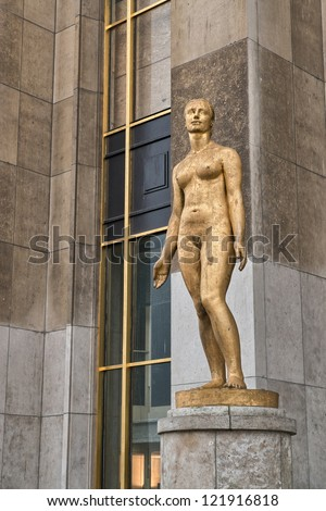 Trocadero Sculpture in Paris. - stock photo
