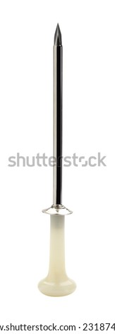 Trocar- surgical instrument with a three-sided cutting point enclosed in a tube, used for withdrawing fluid from a body cavity - stock photo