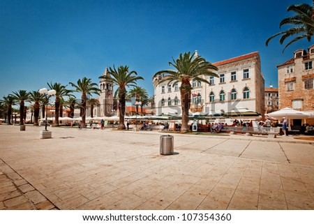 Trogir, as a UNESCO World Heritage Site, is one of most visited places in Croatia. - stock photo