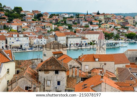 TROGIR, CROATIA - AUG 22, 2014: Architecture of the Old Town of Trogir, Croatia. UNESCO World heritage