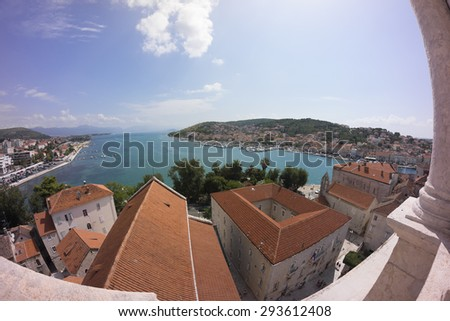 Trogir, Croatia - August 23, 2014: Aerial view of historic town and harbour on the Adriatic coast Trogir in Croatia.