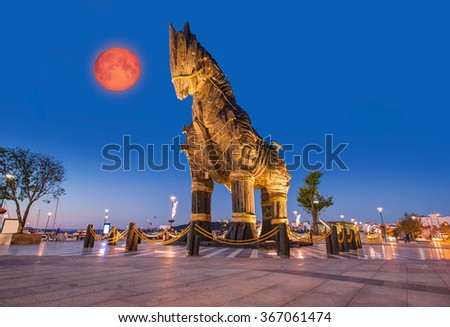 "Trojan horse, Canakkale Turkey""Elements of this image furnished by NASA "" - stock photo"