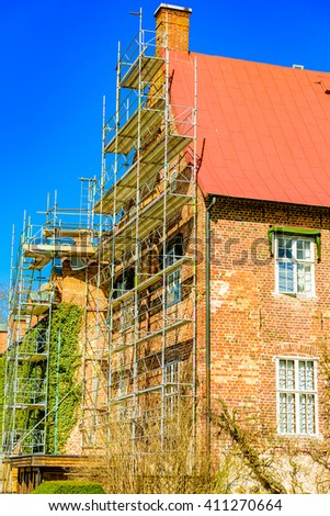 Trolle Ljungby, Sweden - April 12, 2016: The castle at Trolle Ljungby is being renovated. Scaffoldings are raised against the facade. Lovely spring day as seen from public area.