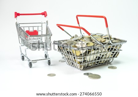 Trolley and coins inside basket - stock photo