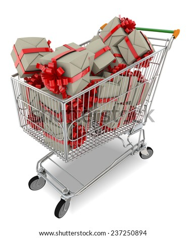 Trolley filled with gift boxes with red ribbon against  white background - stock photo