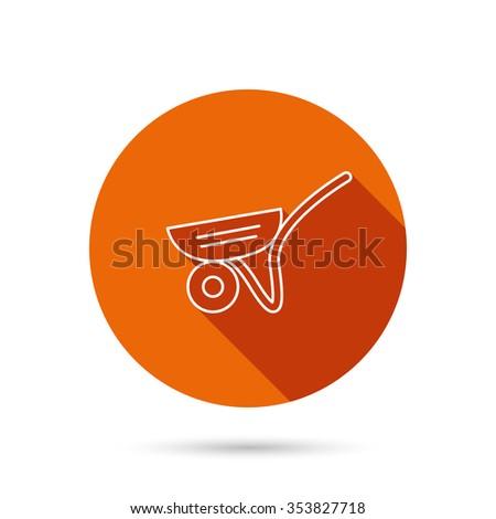 Trolley icon. Garden cart sign. Gardener equipment symbol. Round orange web button with shadow. - stock photo