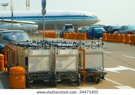 trolley in the airport (Domodedovo, Moscow) - stock photo