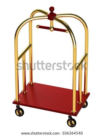 Trolley Luggage isolated on white background - stock photo