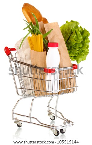 Trolley with food isolated on white - stock photo