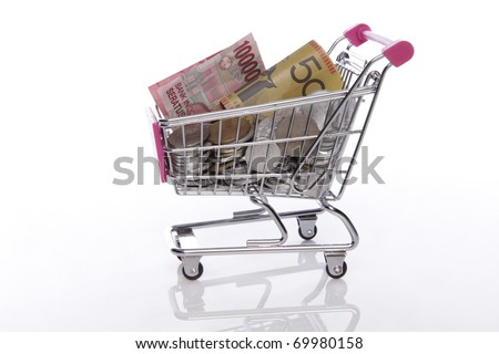 trolley with money