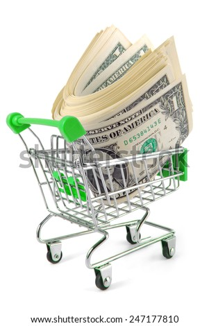trolley with money concept  isolated on white