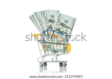 Trolley with money on white background