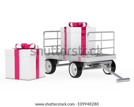 trolley with pink white christmas gift box