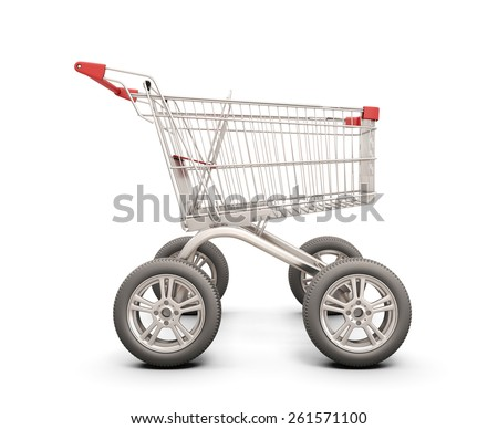 Trolley with wheels from the car. The concept of discounts in shops. 3d illustration. - stock photo