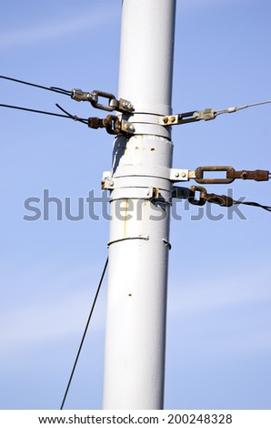 trolleybus electric cable metal post in street