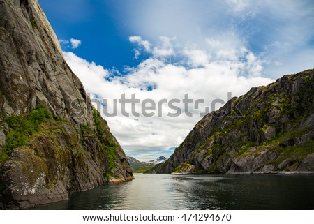 Trollfjord in Lofoten Islands, Norway.