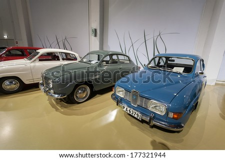 TROLLHATTAN,  SWEDEN -  JANUARY 02: Car Saab in SAAB Museum, January 02, 2014 in Trollhattan, Sweden - stock photo