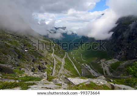 Trollstigen road in the mountains - stock photo