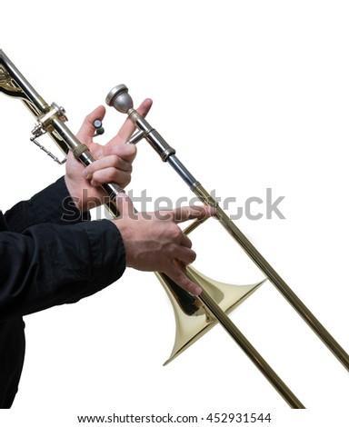 Trombone musician classic jazz music - stock photo