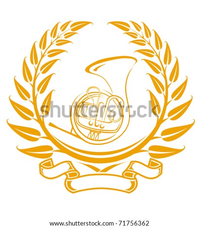Trombone symbol in laurel wreath isolated on white. Vector version also available in gallery - stock photo