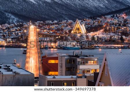 Tromso city in Norway - stock photo