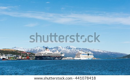 Tromso,Norway ,22.06.2016,The cruise tourist ships in the port of Tromso