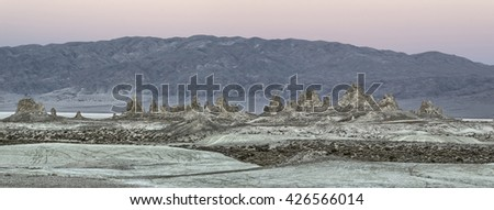 Trona Pinnacles in twilight, Searles Valley, California - stock photo