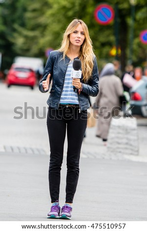 Trondheim, Norway, August 08, Cristina Gullon - journalist of Real Madrid TV