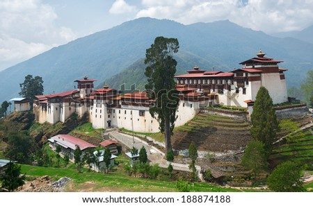 Trongsa Dzong monastery in Bhutan - stock photo