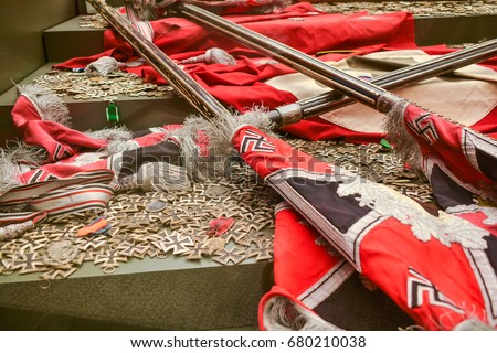 Stock Photo Trophies Of The Second World War Banners And Crosses Of Nazi Germany