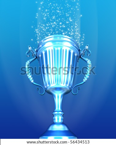 Trophy Cup and confetti over blue background - stock photo
