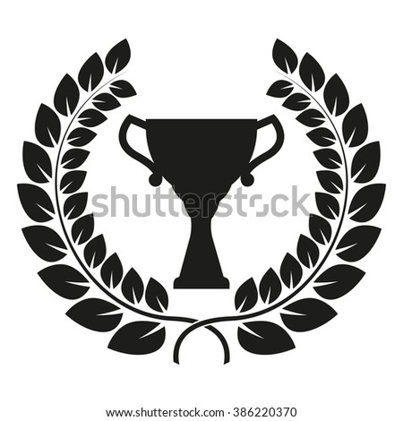Trophy cup and laurel wreath isolated on white background. First place award or Champions cup icon. - stock photo