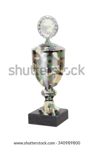 Trophy cup isolated on a white background - Camo - stock photo