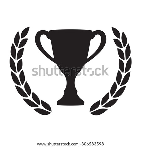 Trophy cup with Laurel wreath. Award icon or sign. Black winner symbol on white background.