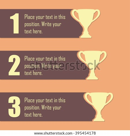 Trophy Cups and award concept. Champions or winners cups icons. Sport Infographic elements with space for text. - stock photo