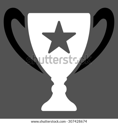 Trophy icon. Glyph style is flat bicolor symbols, black and white colors, rounded angles, gray background.