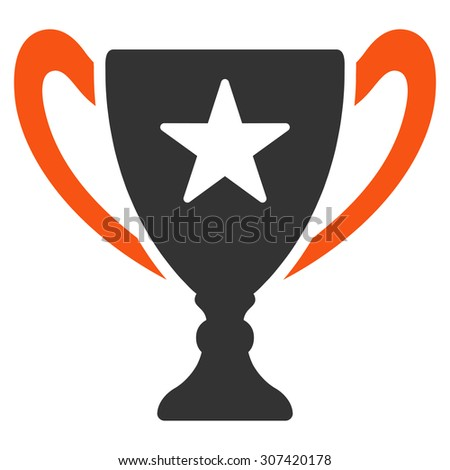 Trophy icon. Glyph style is flat bicolor symbols, orange and gray colors, rounded angles, white background.