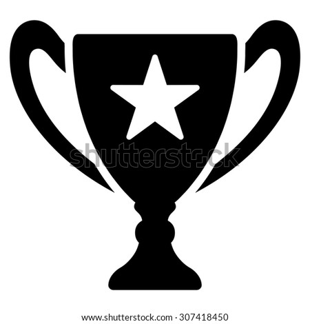 Trophy icon. Glyph style is flat symbols, black color, rounded angles, white background.