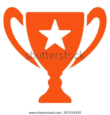 Trophy icon. Glyph style is flat symbols, orange color, rounded angles, white background.