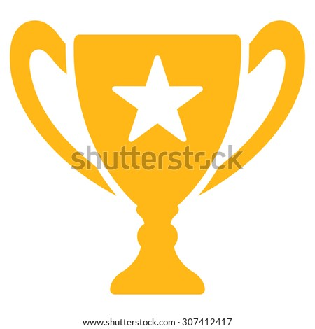 Trophy icon. Glyph style is flat symbols, yellow color, rounded angles, white background.