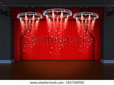 trophy on theater stage red curtains and spotlights - stock photo