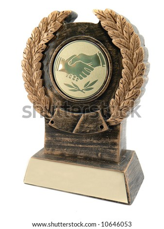 Trophy or medal on isalated white - stock photo