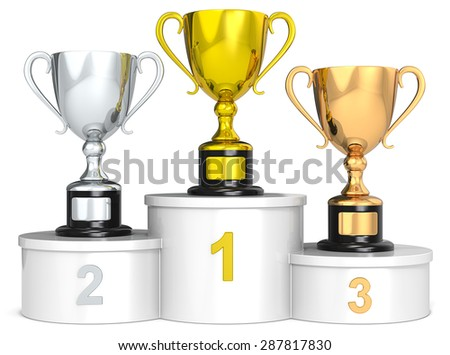 Trophy podium. White podium with 3 Trophy cups. - stock photo