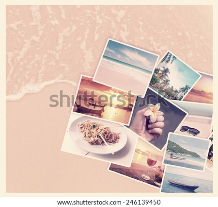 Tropic beach theme collage composed of few photos, with retro toning - stock photo
