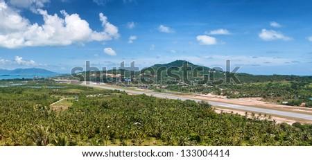 Tropic island Samui, sea and airport,Thailand panorama viewpoint view - stock photo