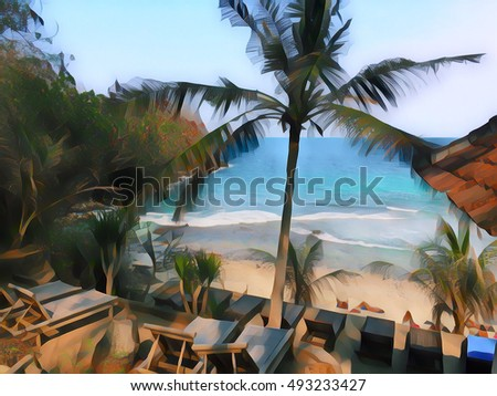 Tropic resort landscape with coco palm trees and beach. Digital illustration with seaside view through palm tree silhouette. Palm tree leaf under sunlight. Romantic paradise image in painting style