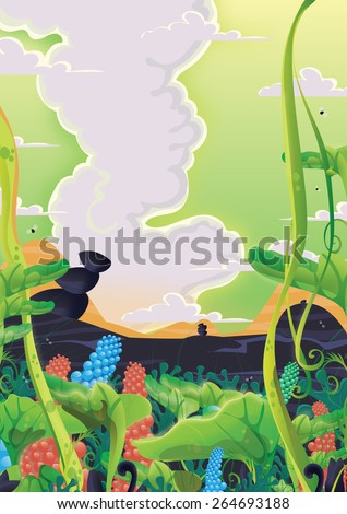 Tropical Alien Landscape, this is a cartoon tropical landscape with all sorts of plants and flowers under a alien green sky.