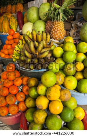 Tropical and organic fruits at a market in Guatemala