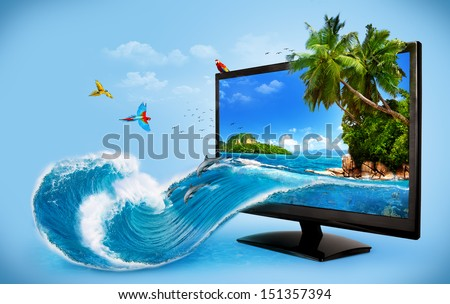 Tropical background from computer monitor. Traveling, vacation, Water splash - stock photo
