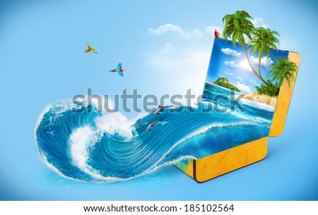 Tropical background from suitcase. Traveling, vacation, Water splash  - stock photo
